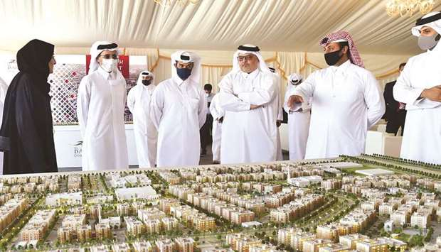 HE Ghanem bin Nasser al-Ali listens to a briefing on Barwa Real Estate's latest projects in Al Wakra