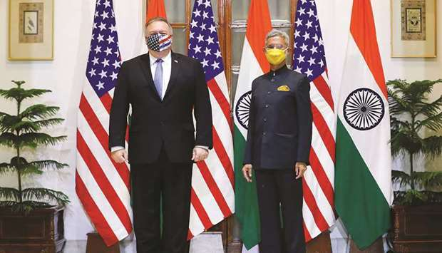 US Secretary of State Mike Pompeo and External Affairs Minister Subrahmanyam Jaishankar stand during