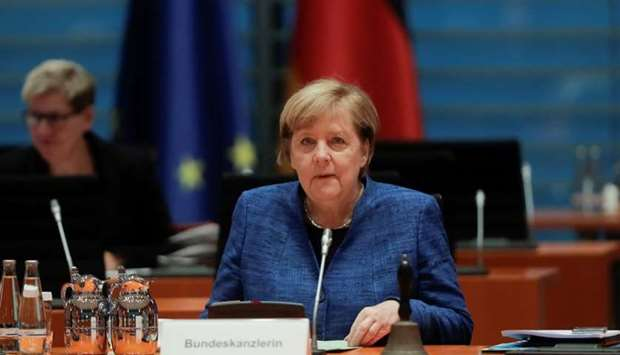 German Chancellor Angela Merkel attends the weekly cabinet meeting of the government at the chancell