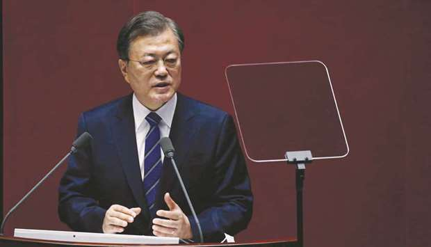 President Moon Jae-in speaks at the National Assembly in Seoul.