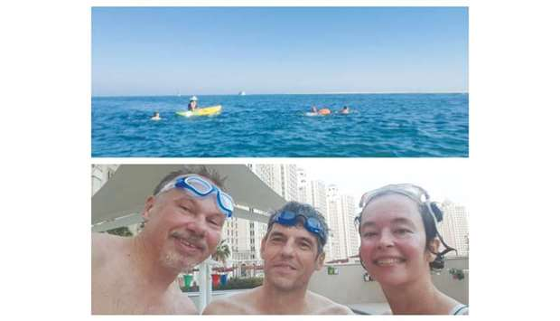 Carly-Jane Figgis, Bruno Gilbert and Jeroen Brons, keen competitive members of Angry Dragons Qatar,