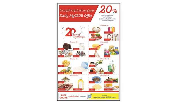 Carrefour Qatar 20th anniversary offerings.