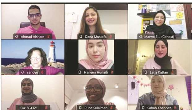 A snapshot of QU-CPH students who organised a virtual breast cancer awareness campaign.