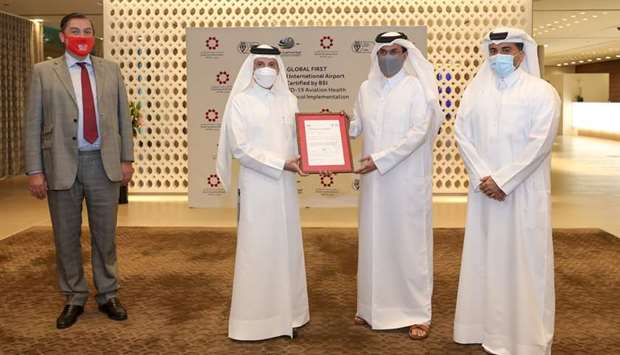 Qatar's airport received the verification certificate during an official handover ceremony.