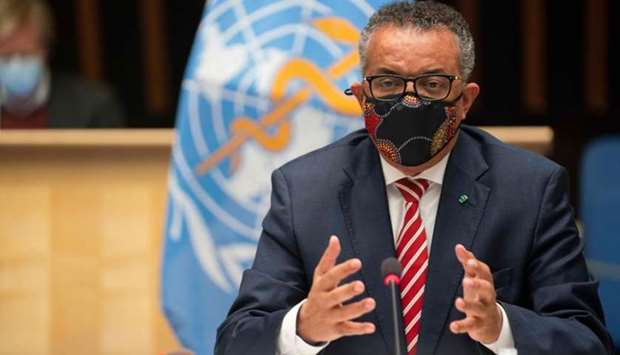 World Health Organization (WHO) Director-General Tedros Adhanom Ghebreyesus wearing a protective fac