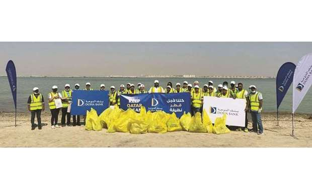 Doha Bank participates in beach cleanup