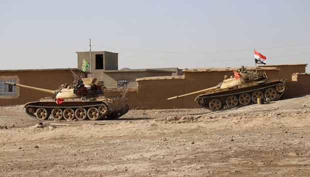 Tanks of Popular Mobilization Forces (PMF) are seen in Mosul