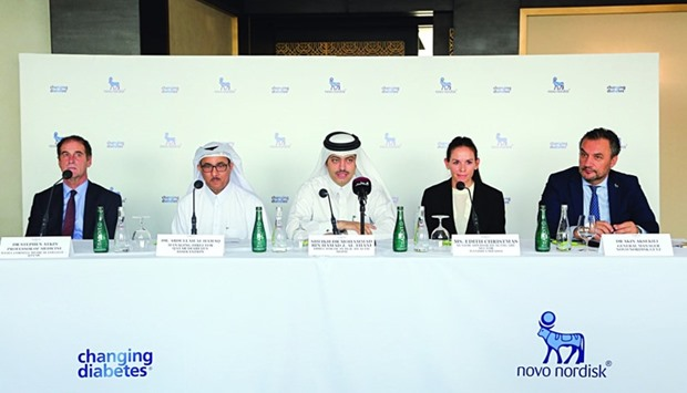 Dr Sheikh Mohamed bin Hamad al-Thani speaks at the event as Dr Abdulla al-Hamaq and other officials