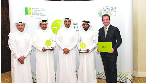 Msheireb Properties management team during the '1st Annual Qatar Sustainability Awards' ceremony.