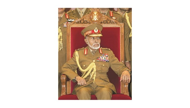 Oman's Sultan Qaboos attends a military parade in the capital Muscat, marking the Sultanate's 46th N