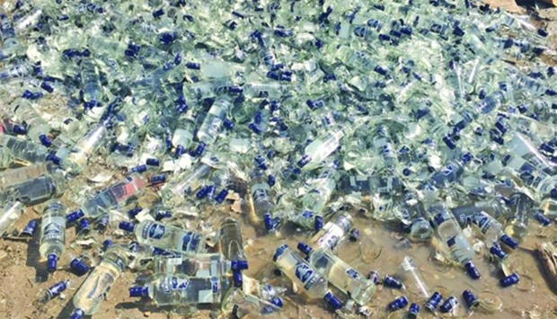 The crushed bottles