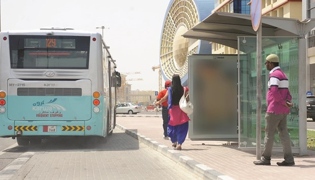 A partially covered bus shelter in Doha.