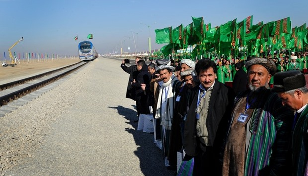 A freight train heading to Afghanistan's Akina during a ceremony