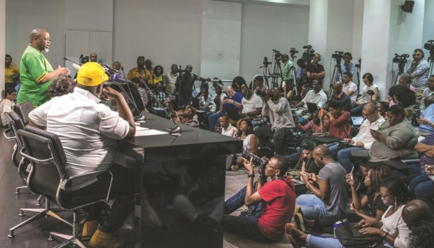 Mantashe speaks during a press conference at Lithuli House in Johannesburg, announcing that the ANC