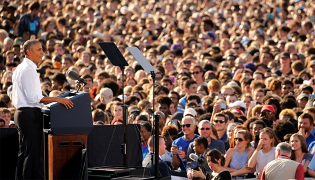 Obama campaigning for Democratic presidential nominee Hillary Clinton