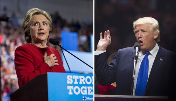 Democratic presidential nominee Hillary Clinton, Republican presidential candidate Donald Trump