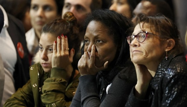 Supporters of US Democratic presidential nominee Hillary Clinton react at her election night rally i