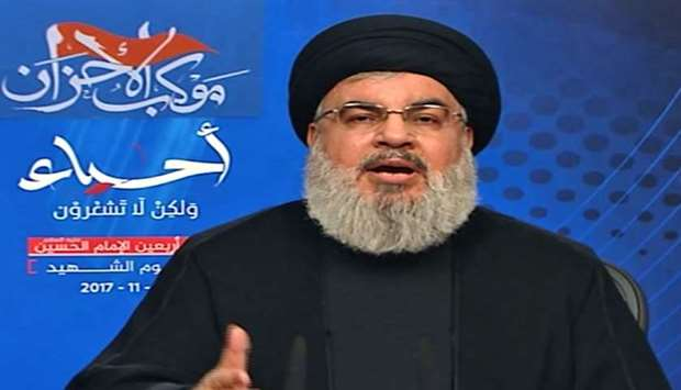 Hassan Nasrallah, the head of Lebanon's militant Shiite movement Hezbollah, giving a televised addre