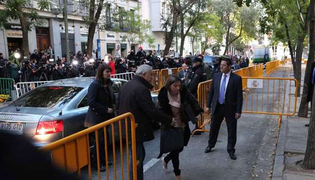 Forcadell arrives at the Supreme Court in Madrid yesterday to be questioned over her role in Catalon