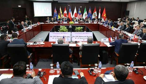 Trade ministers and delegates attend the TPP Ministerial Meeting