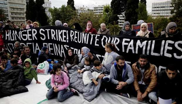 Refugees seeking reunification with family in Germany protest in Athens