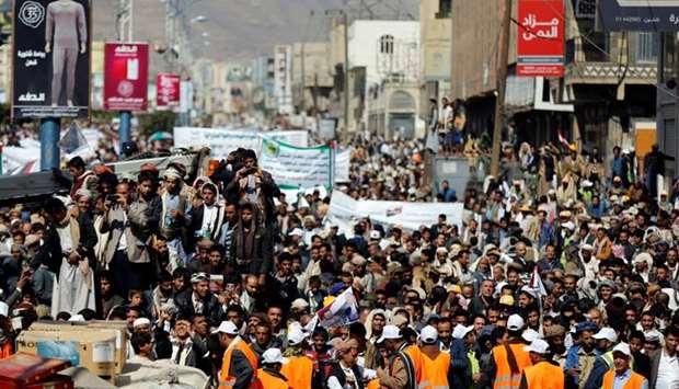 Supporters of the Houthi movement demonstrate against the closure of Yemen's ports by the Saudi-led