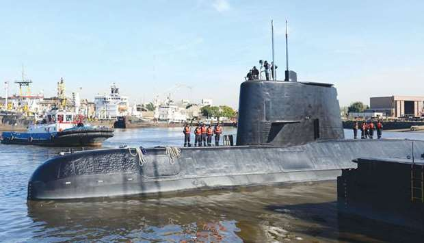 The Argentine military submarine ARA San Juan and crew are seen leaving the port of Buenos Aires, Ar