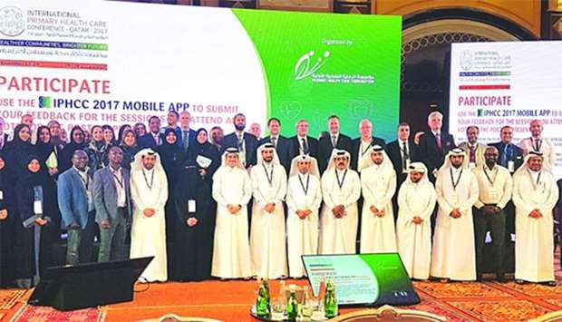 Qatar's senior health officials and international health experts at the closing ceremony of the thre