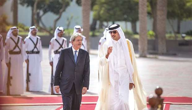 His Highness the Emir with Italian Prime Minister Paolo Gentiloni during the official reception cere