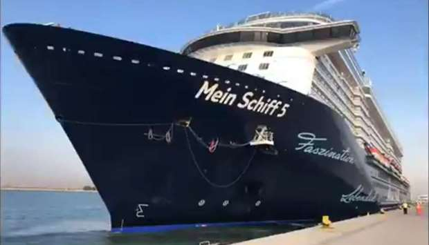Cruise ship Mein Schiff 5 docked at Doha Port on Wednesday. PICTURE: Mwani Qatar