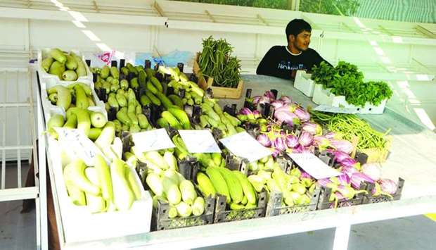 A stall with local vegetables at one of the yards.
