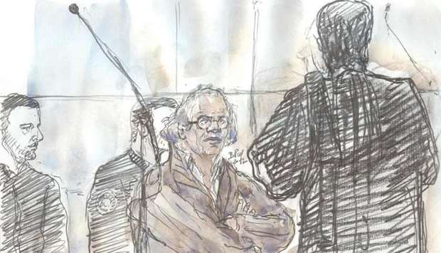 A court sketch shows Abdelhakim Dekhar (C), accused of several attempted murders
