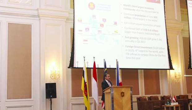 Abraham delivers a keynote speech during at the 'Qatar and Asean – Trade and Investment Opportunitie