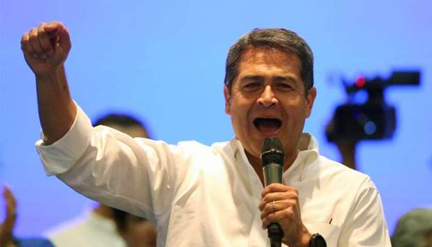 Honduras President and National Party candidate Juan Orlando Hernandez