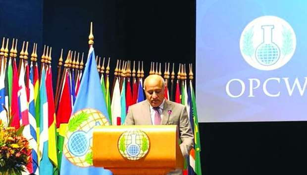 HE Sheikh Jassim bin Mohamed al-Thani addressing the conference of the states parties to the convent