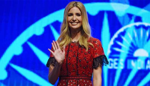 Advisor to the US President Ivanka Trump waves as she arrives for a panel discussion at the Global E