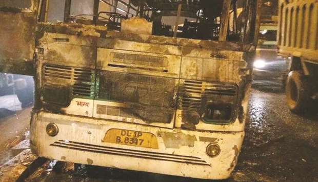 The wreckage of the bus that caught fire in south Delhi yesterday.