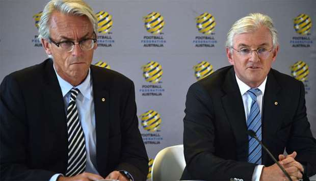 Football Federation Australia chairman Steven Lowy (R) and chief executive officer David Gallop (L)