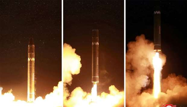 Korean Central News Agency (KCNA) shows launching of the Hwasong-15 missile which is capable of reac