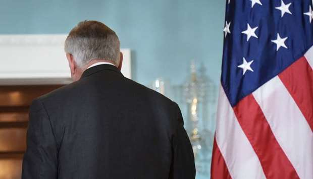 US Secretary of State Rex Tillerson heads to a bilateral meeting with Germany's Foreign Minister Sig