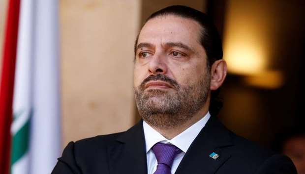 Lebanon's Prime Minister Saad al-Hariri is seen at the governmental palace in Beirut, Lebanon