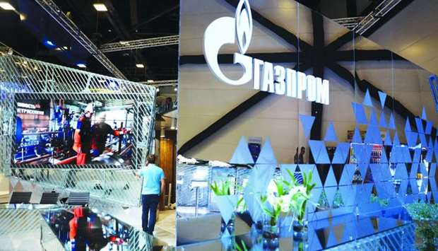 Workers prepare the Gazprom pavilion ahead of the St Petersburg International Economic Forum 2016 (S