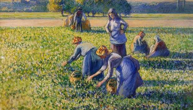 Painting of women picking peas by Impressionist master Camille Pissarro