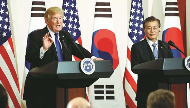 US President Donald Trump and South Korea's President Moon Jae-in hold a joint news conference at th