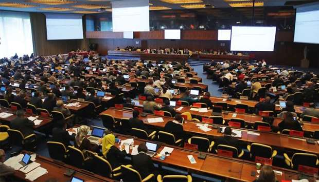 Overview taken during a meeting of the Governing Body on Qatar at the International Labor Organizati