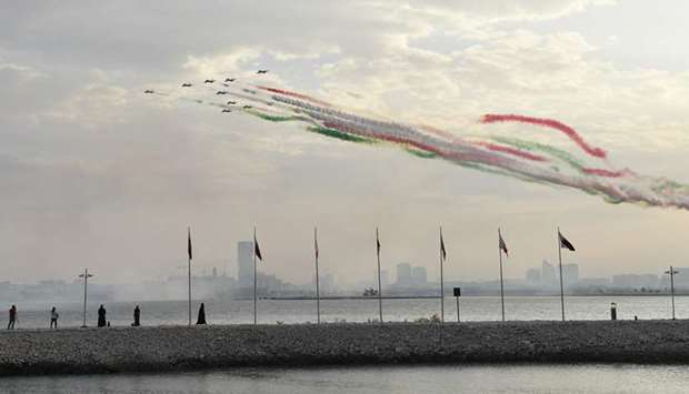 The Frecce Tricolori enthralled spectators with exhilirating maneuvers.