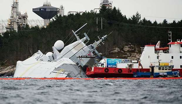 "The Norwegian frigate ""KNM Helge Ingstad"" takes on water after a collision with the tanker ""Sola TS"""