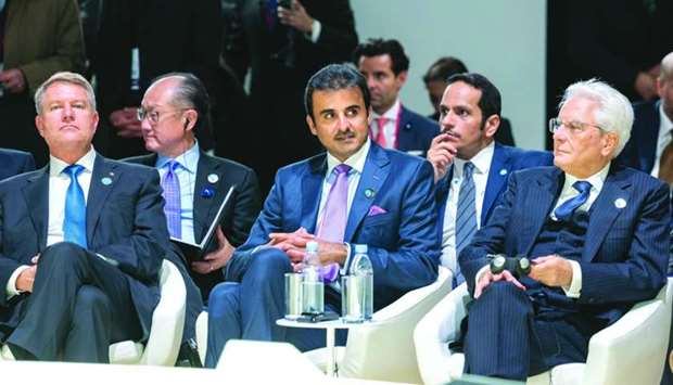 His Highness the Amir Sheikh Tamim bin Hamad Al-Thani on Sunday attended the opening of Paris Peace