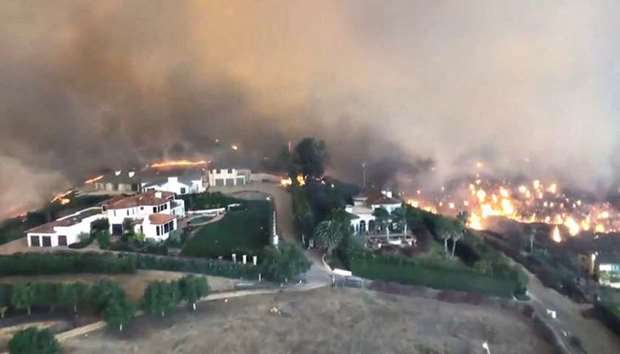 An aerial view showing the Woolsey Fire in Malibu, California