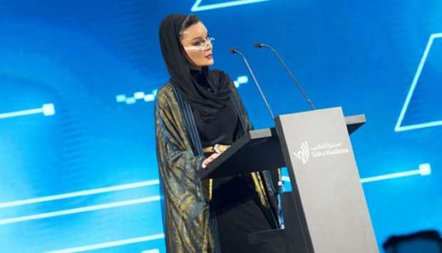 Her Highness Sheikha Moza bint Nasser, Chairperson of Qatar Foundation, delivering an address at the